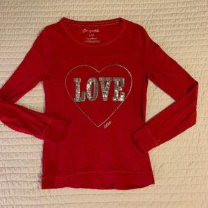 Aeropostale Red Long Sleeve LOVE Sequin Shirt Lg